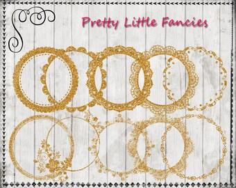 10 Digital Gold Glitter Round Frames Lace Frames Digital Frame Clipart Glitter Frames Glitter Clip Art