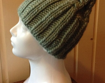 Hand Knit Chunky Cabled Hat in Sea Green