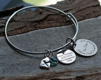Big Hearted Teacher Personalized Adjustable Wire Bangle Bracelet