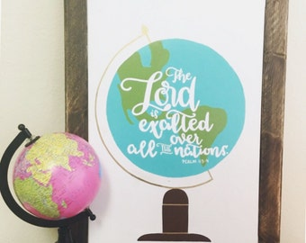Hand Lettered & Painted Globe Wall Art