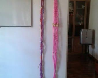 Set of 2 Polycord macrame plant hanger, hanging planter indoor/outdoor,bird feeder,pink,purple coloured plant holders.garden decor.