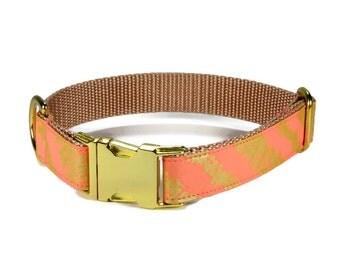 Coral Bliss Dog Collar, Coral Dog Collar, Coral And Gold Dog Collar, Gold Hardware, Gold Metallic , Wedding Dog Collar