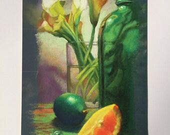 Orange Meets Lime- Signed Original Pastel