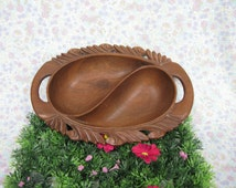 Wood Bowl - Vintage Wood Bowl - Hand Carved Wood - Divided Bowl - Decorative Bowl - Rustic Bowl - Serving Bowl - Candy Dish - Country Decor
