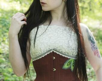 "Brown underbust corset steel bones fantasy larp gothic 18"""