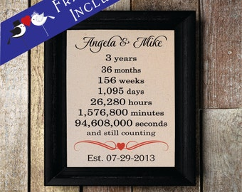 Third Wedding Anniversary • 3rd Anniversary Gift • 3 year Anniversary Gift • 3rd Anniversary • FRAMED WEDDING gift•Personalized  (ann301-3)