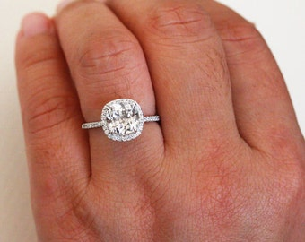 Engagement Ring 14k White Gold White Topaz Cushion 8mm and Diamond Halo Half Eternity Diamond Band