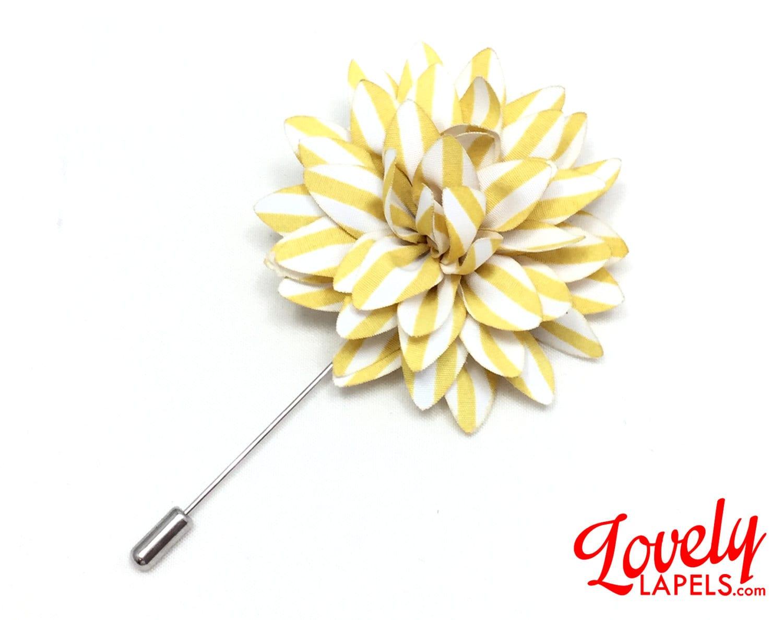 FLP1822 Flower Lapel Pin Yellow with White Stripes Dahlia