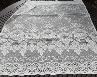 """Scottish Tailored Lace Curtain Pair 35""""x70"""" (87x180cm)Total Width. 95% Cotton, Made in Scotland, Delicate Cream Colour. AR21908 Darvel"""