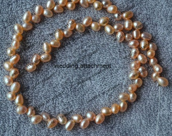 15 inch pink genuine pearl strand supply, 5-6 mm AA real cultured wheat shape pearl strand wholesale,real freshwater pearl jewelry material