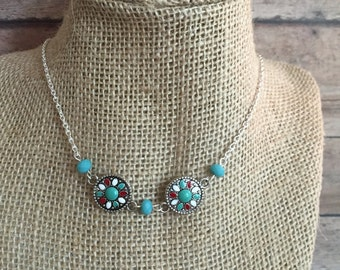 Southwestern silver charm necklace