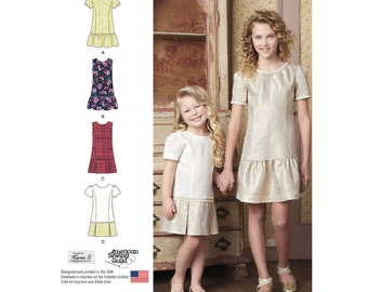 Simplicity Pattern 8183 Child's and Girls' Dress or Jumper with Skirt Variations