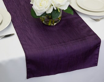 Plum Crease Taffeta Table Runner | Wedding Table Runners
