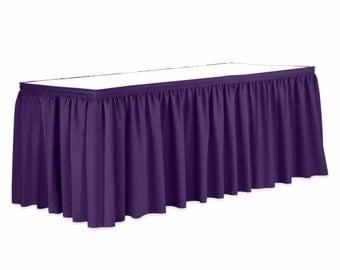 13 ft. Pleated Satin Purpe Table Skirt