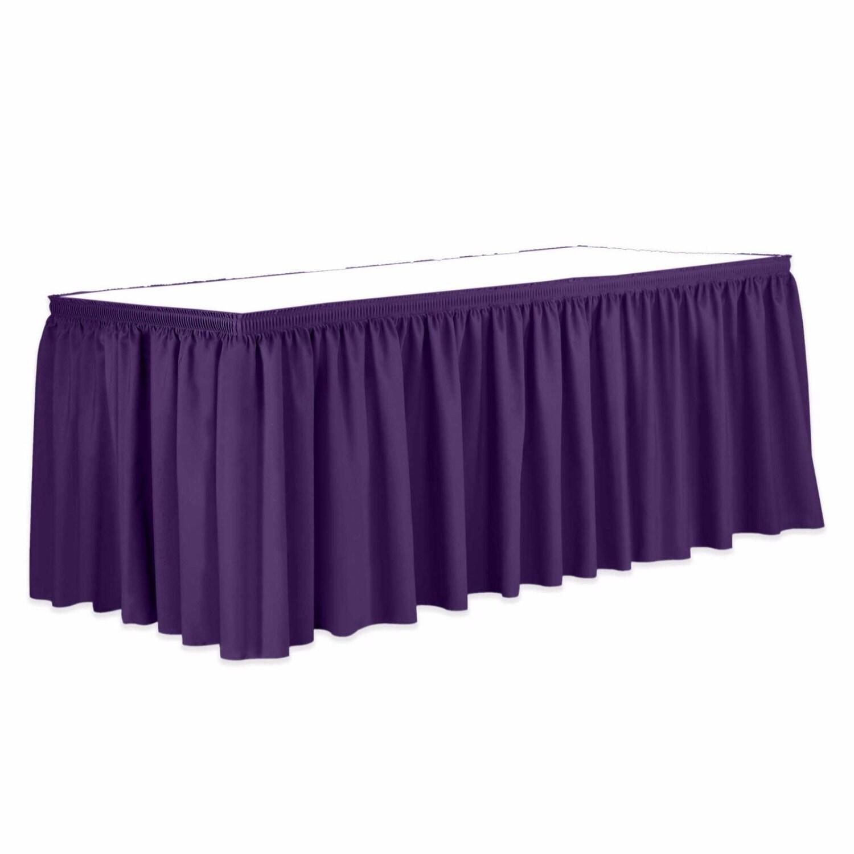 13 ft pleated satin purpe table skirt