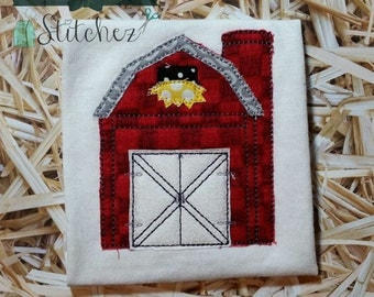 Raggedy Barn Applique Design ~ Bean Finish ~ Quick Stitch ~ Instant Download