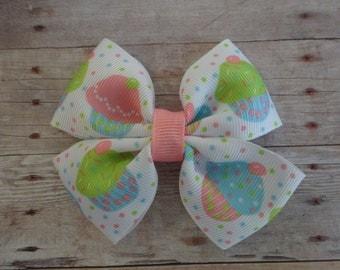 Pastel Pink, Blue & Green Cupcakes Pinwheel Hair Bow
