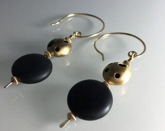 Long Dangle gold and black earrings