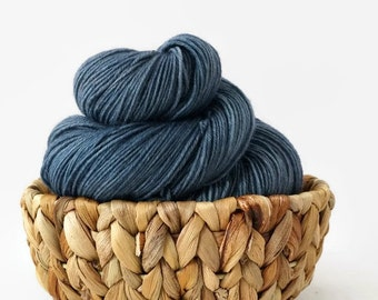 Hand dyed sock yarn superwash merino nylon - Vintage Denim