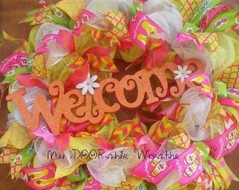 Welcome Wreath/ Pool Wreath/ Summer Wreath/ Beach Wreath/ Lake Wreath/ Flip Flops Ribbon Summertime Deco Mesh Whimisical Wreath/ XXL