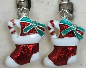 Santa Stocking Drop Style Girls Ladies Clip On Earrings Brightly Coloured Festive Novelty Accessories