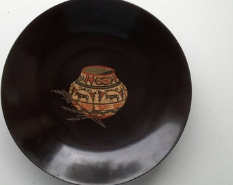 Mid Century Cuoroc Bowl with Native American Pottery Inlay