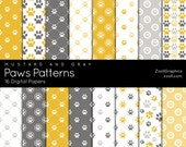 """Paws Patterns – Mustard And Gray, 16 Digital Papers (12""""x12""""), Photoshop Pattern File .PAT Included, Seamless, INSTANT DOWNLOAD"""