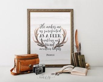 Deer printable scripture art print Antler art print Wall art Bible verse art Psalm 18:33 Nursery bible scripture verse HEART OF LIFE Design