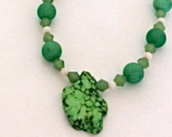 GREEN TURQUOISE BEAD Strand  Custom Designed and Handmade by Andrea Comsky