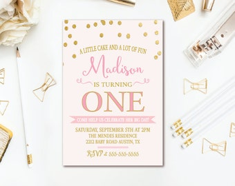 Pink & Gold Birthday Party Invitation -  Confetti Birthday Invite - Girls 1st Birthday Invitation - Blush Pink Printable