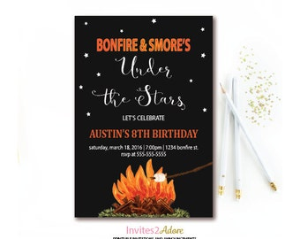 Bonfire & Smore's Birthday Invitation - Campfire Party - Backyard Bonfire Birthday Invite - Any Age - Printable Invitation