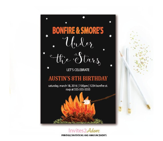 Bonfire Amp Smore S Birthday Invitation Campfire Party