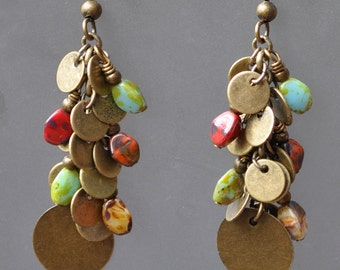 Antique Bronze and Multi-colored Picasso Finish Glass Bead Earrings