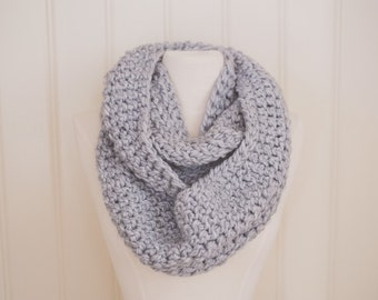 Light Gray Infinity Scarf | Double Wrap | Silver | Crocheted | Handmade | Winter Scarf | Circle Scarf | Unisex