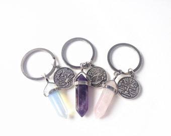 zodiac keychain,crystal keychain,crystal key chain,bridesmaid keychain, boho keychain, boho key chain,amethyst keychain,rose quartz keychain