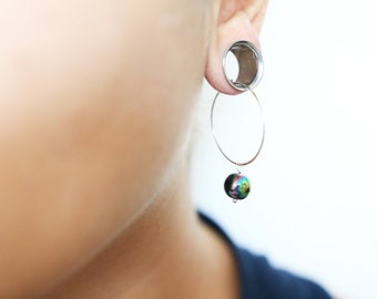 Black Acylic Gem Bead with Rainbow-like Surface on Hoop Earrings for Stretched and Gauged Ears