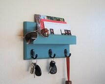 Teal Blue Key Rack with Mail Ledge Shelf