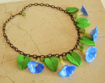 Morning Glory necklace, 30's 40's inspired Ipomoea necklace, blue flower necklace.