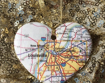 Louisville Map Ornament