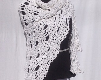 White and Silver Angel Wings Shawl