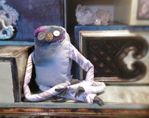 Nezbert, stuffed sloth handmade art doll