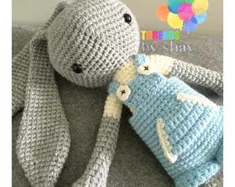 nico bunny - crochet soft toy, plush, amigurumi