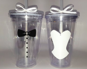 Set of 2 Bride and Groom 'Mr & Mrs' Clear Double Wall Plastic Reusable Tumbler Cups w Lids and Straws for Wedding, Engaged, Married Couple