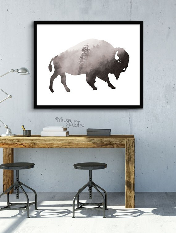 buffalo print rustic home decor cabin decor wilderness