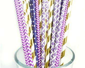 Purple and Gold Baby Shower Decorations, Plum Bridal Shower Decor, Purple Wedding Paper Straws, Bachelorette Party Dessert Table Decor