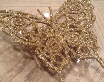 Gold Glitter Butterfly Hair Comb