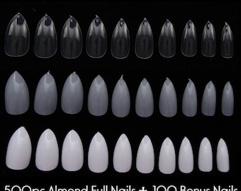 600pc Almond Shape Oval Stiletto Full Cover False Nail Tips Fingernail Manicure Acrylic gel DIY Pointy fake nails long press on nails clear