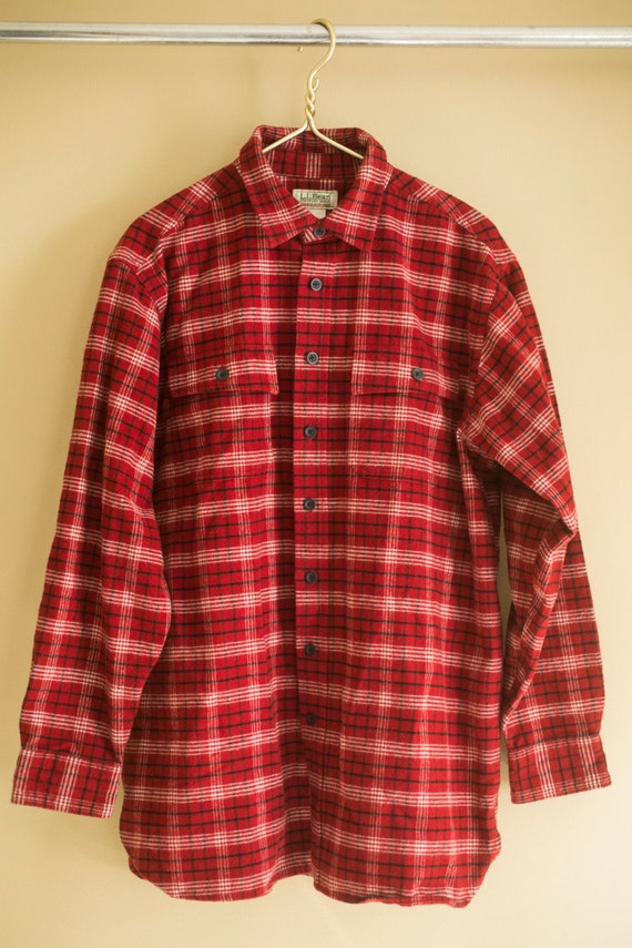 mens chamois ll bean red plaid button down oxford shirt large. Black Bedroom Furniture Sets. Home Design Ideas