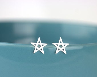 Handwritten Star Stud Earrings, 100% sterling silver, Cute Star Studs, Twinkle little star, childhood