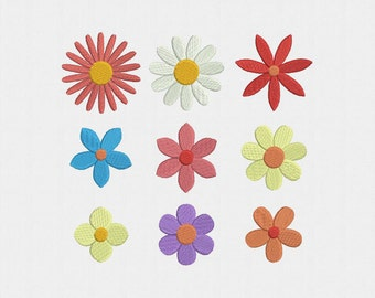 Mini Flowers Machine Embroidery Design - 9 Designs by 5 Sizes